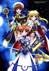 Rating: Safe Score: 31 Tags: armor bodysuit fate_testarossa hashidate_kana mahou_shoujo_lyrical_nanoha sword takamachi_nanoha weapon wings yagami_hayate User: drop