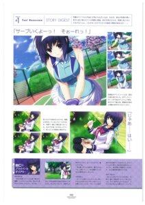 Rating: Safe Score: 7 Tags: breast_hold expression hibiki_works iizuki_tasuku lovely_x_cation nanasawa_yuni seifuku tennis thighhighs User: 4ARMIN4