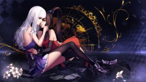 Rating: Safe Score: 27 Tags: dress heels red-d thighhighs wallpaper yuri User: Mr_GT