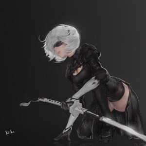 Rating: Questionable Score: 25 Tags: cleavage dress heels nier_automata pantsu skirt_lift sword thighhighs yorha_no.2_type_b youximiaomiao User: Dreista