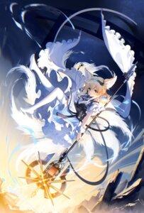 Rating: Safe Score: 34 Tags: animal_ears arknights kitsune pantyhose skirt_lift tail weapon yu_jiu User: Mr_GT
