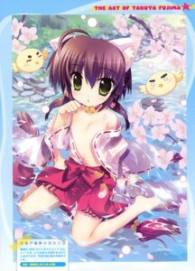 Rating: Questionable Score: 33 Tags: animal_ears fujima_takuya loli miko no_bra open_shirt wet_clothes User: fireattack