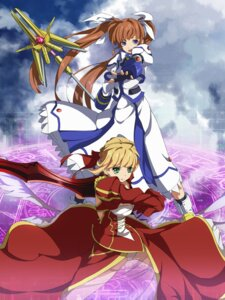 Rating: Safe Score: 17 Tags: crossover fate/extra fate/stay_night fumi11 mahou_shoujo_lyrical_nanoha mahou_shoujo_lyrical_nanoha_strikers saber_extra see_through takamachi_nanoha User: omegakung
