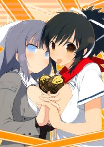 Rating: Questionable Score: 35 Tags: asuka_(senran_kagura) no_bra open_shirt seifuku senran_kagura symmetrical_docking valentine yaegashi_nan yumi_(senran_kagura) User: fireattack