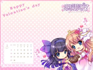 Rating: Safe Score: 12 Tags: calendar chibi hime-sama_gentei! kinmedai_pink princess_sugar valentine wallpaper User: Communist