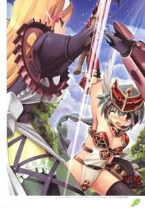 Rating: Questionable Score: 21 Tags: armor cleavage elf maid mirim pointy_ears queen's_blade queen's_blade_rebellion see_through sword thighhighs torn_clothes tsurugi_hagane vante User: fireattack
