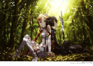 Rating: Safe Score: 31 Tags: adachi_shingo armor asuna_(sword_art_online) kirito sword sword_art_online thighhighs User: drop