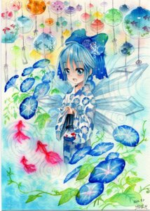 Rating: Safe Score: 8 Tags: cirno kimono mosho paper_texture touhou wings User: charunetra