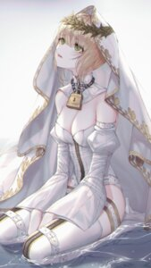 Rating: Questionable Score: 22 Tags: fate/grand_order leotard orecalc3092 saber_bride saber_extra thighhighs wet User: Dreista