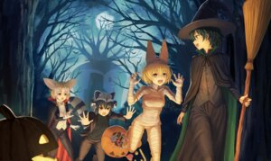 Rating: Safe Score: 17 Tags: animal_ears bandages common_raccoon fennec halloween kaban_(kemono_friends) kemono_friends serval sion_(9117) tail witch User: Mr_GT