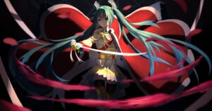 Rating: Safe Score: 15 Tags: bing_xia_changzhi cosplay daiba_nana hatsune_miku shoujo_kageki_revue_starlight sword thighhighs uniform vocaloid User: Dreista