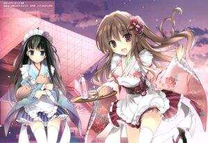 Rating: Safe Score: 36 Tags: aomi_maika karomix karory maid thighhighs tsukiishi_koyuki wa_maid waitress User: kiyoe