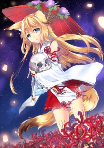 Rating: Questionable Score: 32 Tags: animal_ears g_wara kitsune miko tail umbrella User: nphuongsun93