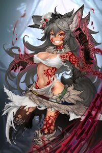 Rating: Safe Score: 75 Tags: animal_ears cleavage mizutsu nopan tail tattoo thighhighs underboob User: Mr_GT
