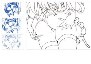Rating: Questionable Score: 3 Tags: ass pantsu saitom sketch skirt_lift thighhighs thong User: Radioactive