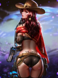 Rating: Questionable Score: 69 Tags: ass bra genderswap gun liang_xing mccree_(overwatch) mecha_musume overwatch pantsu stockings tattoo thighhighs wet User: mash