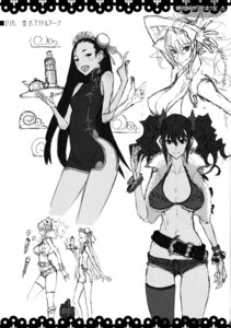 Rating: Safe Score: 10 Tags: bikini_top character_design chinadress cleavage dress honjou_raita kuramoto_erika mahou_shoujo_(raita) monochrome nitta_yui nopan sketch thighhighs underboob zettai_shoujo User: Radioactive
