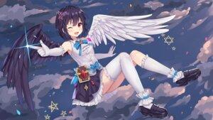 Rating: Safe Score: 30 Tags: hokori_sakuni skirt_lift thighhighs wallpaper wings User: Mr_GT