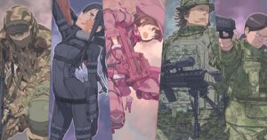 Rating: Safe Score: 12 Tags: asougi_goushi bodysuit gun kohiruimaki_karen kuroboshi_kouhaku llenn m pitohui sword_art_online_alternative:_gun_gale_online tattoo uniform User: kiyoe
