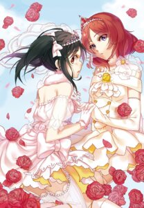 Rating: Safe Score: 35 Tags: aer_(tengqiu) dress love_live! nishikino_maki thighhighs wedding_dress yazawa_nico User: Mr_GT