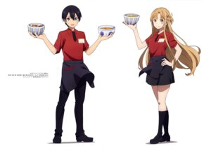 Rating: Safe Score: 28 Tags: asuna_(sword_art_online) kirito sword_art_online uniform wagou_kaoru waitress User: drop