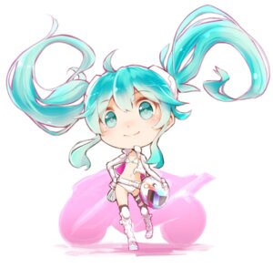 Rating: Safe Score: 24 Tags: bikini chibi hatsune_miku minamito racing_miku swimsuits thighhighs vocaloid User: blooregardo