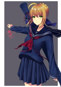 Rating: Safe Score: 10 Tags: aoe_aoi fate/stay_night saber seifuku tattoo User: saemonnokami
