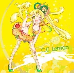 Rating: Safe Score: 7 Tags: bikini_top c.c._lemon c.c._lemon_(character) cleavage thighhighs uchi-asa User: Phiris
