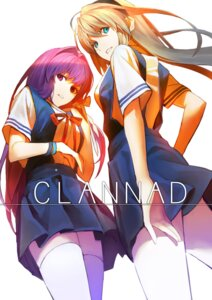 Rating: Safe Score: 38 Tags: clannad fujibayashi_kyou jandy sakagami_tomoyo seifuku thighhighs User: gogotea28