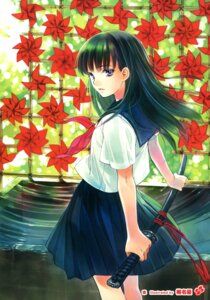 Rating: Questionable Score: 32 Tags: seifuku shiina_yuu sword User: Twinsenzw