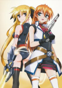Rating: Safe Score: 17 Tags: ass dress fate_testarossa gun leotard mahou_shoujo_lyrical_nanoha mahou_shoujo_lyrical_nanoha_strikers okuda_yasuhiro sword teana_lanster thighhighs User: daemonaf2