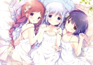 Rating: Safe Score: 138 Tags: dress fixed gochuumon_wa_usagi_desu_ka? joukawa_maya kafuu_chino natsu_megumi no_bra shiratama shiratamaco summer_dress User: fireattack