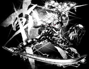Rating: Safe Score: 9 Tags: male metal_gear_rising:_revengeance miwa_shirow monochrome raiden sword weapon User: soryuurengazan