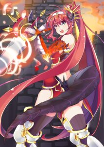 Rating: Questionable Score: 21 Tags: armor horns kona_(pixiv1056283) sword tail thighhighs User: KazukiNanako