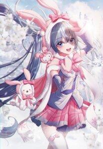 Rating: Safe Score: 23 Tags: animal_ears bunny_ears eumi_114 hatsune_miku thighhighs vocaloid yuki_miku User: Dreista