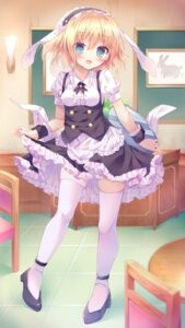 Rating: Safe Score: 68 Tags: gochuumon_wa_usagi_desu_ka? kinokomushi kirima_sharo maid skirt_lift thighhighs waitress User: Mr_GT
