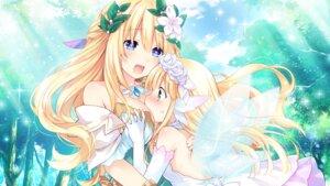 Rating: Safe Score: 52 Tags: bouquet_(choujigen_game_neptune) breast_hold choujigen_game_neptune dress game_cg tsunako vert wings yuri User: Nepcoheart