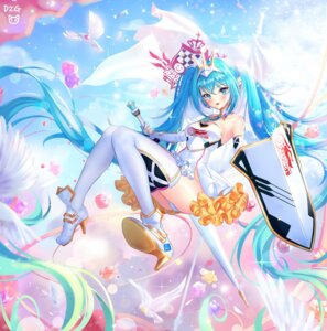 Rating: Safe Score: 50 Tags: hatsune_miku heels pantsu pass35 racing_miku thighhighs vocaloid weapon User: Mr_GT
