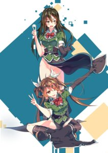 Rating: Questionable Score: 33 Tags: chikuma_(kancolle) kantai_collection nopan skirt_lift thighhighs tone_(kancolle) uniform wardrobe_malfunction zipplin User: Mr_GT