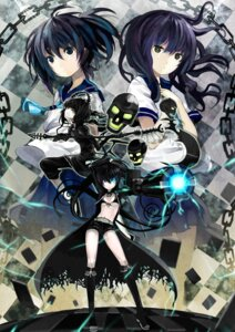Rating: Safe Score: 34 Tags: black_rock_shooter black_rock_shooter_(character) dead_master kuroi_mato nauribon seifuku takanashi_yomi thighhighs vocaloid User: fairyren