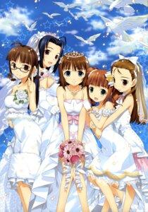 Rating: Safe Score: 29 Tags: akizuki_ritsuko amami_haruka dress fujima_takuya megane minase_iori miura_azusa takatsuki_yayoi the_idolm@ster the_idolm@ster_break! wedding_dress User: gogotea28