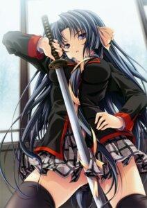 Rating: Safe Score: 59 Tags: kurugaya_yuiko little_busters! miyama-zero seifuku sword thighhighs User: midzki