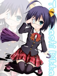 Rating: Safe Score: 13 Tags: chuunibyou_demo_koi_ga_shitai! eyepatch seifuku shinhoya takanashi_rikka thighhighs User: 椎名深夏