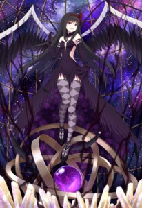 Rating: Questionable Score: 22 Tags: akemi_homura darknessukaru dress no_bra puella_magi_madoka_magica thighhighs wings User: Arsy
