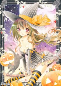 Rating: Safe Score: 27 Tags: ayuayu_(pixiv808221) cleavage halloween neko thighhighs witch User: gn0420