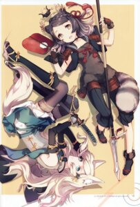 Rating: Safe Score: 51 Tags: animal_ears h2so4 heels island_of_horizon seifuku sword tail thighhighs weapon User: yong