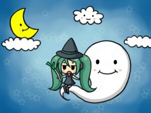 Rating: Safe Score: 8 Tags: chibi hatsune_miku misa vocaloid wallpaper witch User: charunetra