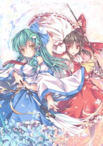 Rating: Safe Score: 29 Tags: abyss_of_parliament hakurei_reimu kochiya_sanae touhou User: fairyren
