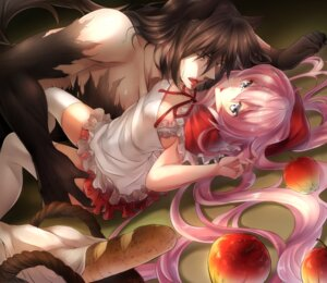 Rating: Questionable Score: 33 Tags: big_bad_wolf cleavage dies_irae dress little_red_riding_hood_(character) mia_(gute-nacht-07) rusalka_schwagerin thighhighs User: Mr_GT