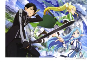 Rating: Safe Score: 28 Tags: alfheim_online asuna_(sword_art_online) kirito leafa nishiguchi_tomoya pointy_ears sword sword_art_online thighhighs weapon wings User: drop